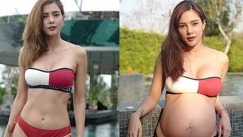 """""""อุ้ม ลักขณา"""" เทียบให้ดูชัดๆ ความเปลี่ยนแปลงของรูปร่าง หลังน้ำหนักขึ้น 14 กิโล"""