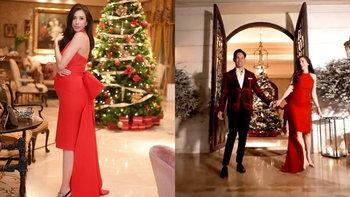 """เปิดบ้าน """"ศรีริต้า-กรณ์"""" ฉลองคริสต์มาสสุดอบอุ่น ว่าที่คุณแม่สวยมากในชุดเดรสสีแดง"""