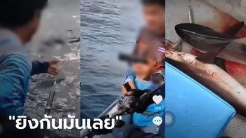 คลิปสะเทือนใจ แก๊งตกปลายิงปืนใส่ฝูงฉลาม ลากขึ้นเรือ 3 ตัว ตำรวจน้ำกระบี่เร่งล่า