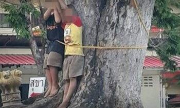 ส่อบานปลาย ชาวบ้านรวมตัวไล่จับผัวเมียใจโหด ทำโทษเด็กขึงต้นไม้