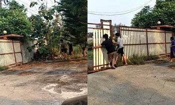 สาวช็อก เจอชายหญิงแอบเข้ามาในรั้วบ้าน ฝ่ายชายซิ่งจยย.เผ่นหนี