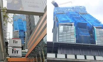 ดีไซน์มาแบบนี้! ภาพตึกกำลังก่อสร้างย่านเพลินจิต เอียงคล้ายจะถล่ม