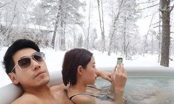 หนาวไม่กลัว เพชรจ้า แช่บ่อน้ำกลางหิมะสวีทภรรยา นิวเคลียร์