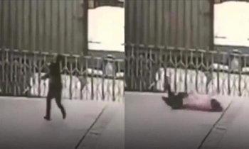 สลด รปภ.จีนโผรับร่างสาวกระโดดตึก ถูกกระแทกแรง ดับคาที่ทั้งคู่