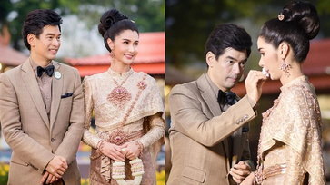 """""""จิ๊บ-จ๊ะจ๋า"""" ควงคู่แต่งชุดไทย หวานละมุนอย่างกับภาพพรีเวดดิ้ง"""