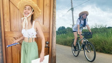 """""""ญาญ่า"""" พาเที่ยวบ้านไร่ชมทุ่งหญ้าเขียวขจี ดูผีเสื้อโบยบินมาเกาะ โรแมนติกสุดๆ"""