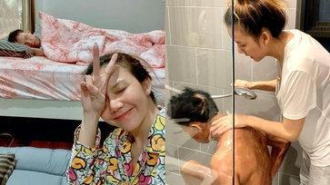 """""""จ๊ะ นงผณี"""" ดูแลพ่อยามป่วย อาบน้ำขัดตัวให้ ชาวเน็ตชื่นชมลูกทุ่งสาวหัวใจกตัญญู"""