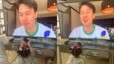 """""""แมทธิว"""" กักตัวแต่ยังอบอุ่น วิดีโอคอลฉลองวันเกิด """"น้องเดมี่"""" ลูกสาวป้อนเค้กให้ด้วย"""