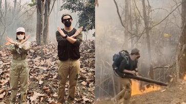 """""""เป๊ก-นิว"""" ลงพื้นที่ติดตามทีมดับไฟป่า ซัดแรงไฟป่าโหดร้าย แต่คนทำลายโหดร้ายกว่า"""