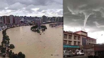 หูหนานอ่วม น้ำท่วมสูงหลังฝนตกหนัก เกาะกลางแม่น้ำจมหาย