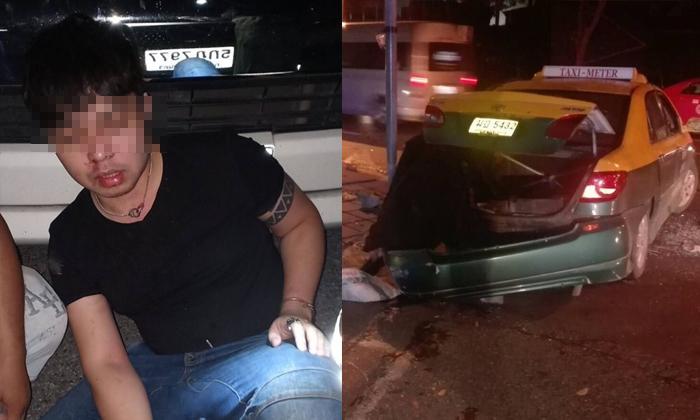 """หลานชาย """"สุเทพ เทือกสุบรรณ"""" ขับรถชนแท็กซี่ - การ์ดผับรุมซ้อมเจ็บหนัก"""