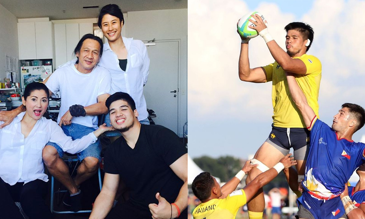 """""""พ่ออ๊อฟ-แม่แดง"""" สุดภูมิใจลูกชายลงแข่งรักบี้ทีมชาติไทย คว้าเหรียญทองแดงซีเกมส์ 2019"""