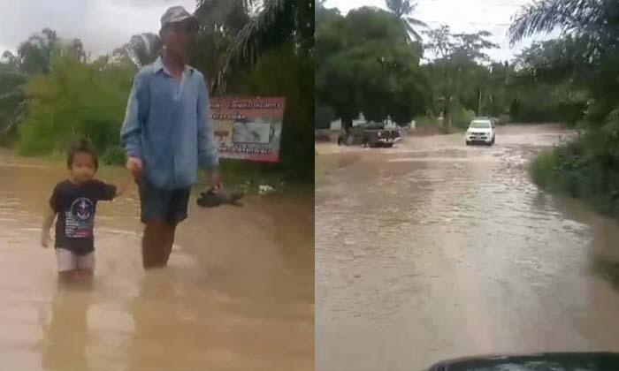 น้ำจากกระบี่ไหลท่วม 10 หมู่บ้าน จ.สุราษฎร์ธานี