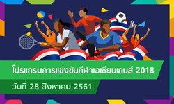 โปรแกรมการแข่งขัน กีฬาเอเชียนเกมส์ 2018 ประจำวันที่ 28 สิงหาคม 2561