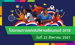 โปรแกรมการแข่งขัน กีฬาเอเชียนเกมส์ 2018 ประจำวันที่ 23 สิงหาคม 2561