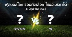 ผลบอล : เอกวาดอร์ vs เปรู (ฟุตบอลโลก-รอบคัดเลือก-โซนอเมริกาใต้ 2020-2022)