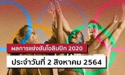 สรุปผลการแข่งขันกีฬาโอลิมปิก 2020 ประจำวันที่ 2 สิงหาคม 2564