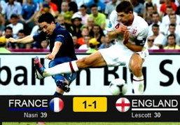 ประมวลภาพ อังกฤษ เสมอ ฝรั่งเศส 1-1