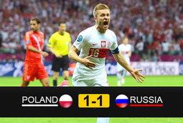 ประมวลภาพ โปแลนด์ เสมอ รัสเซีย 1-1