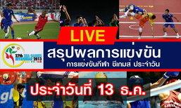 ผลงานนักกีฬาไทยในการแข่งขันซีเกมส์ วันที่ 13-12-13