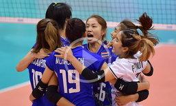 """ไฮไลท์ชัดๆ """"นักตบสาวไทย"""" สู้ขาดใจก่อนพ่าย """"โดมินิกัน"""" 2-3 เซต"""
