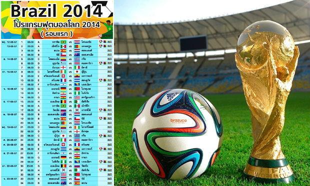 โปรแกรมฟุตบอลโลก 2014 (รอบแรก)