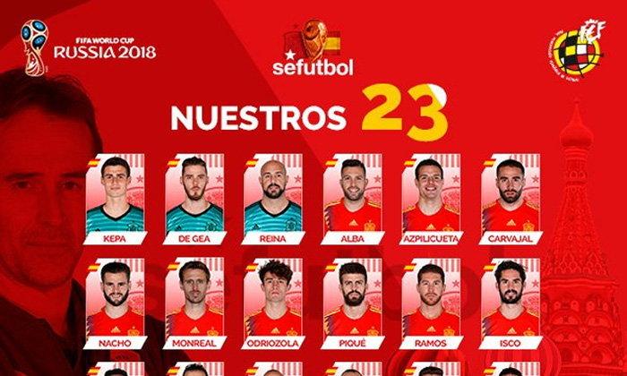 สเปน เมินสตาร์ สิงห์-ผี ! ประกาศรายชื่อ 23 แข้ง สเปน โม่แข้ง รัสเซีย 2018