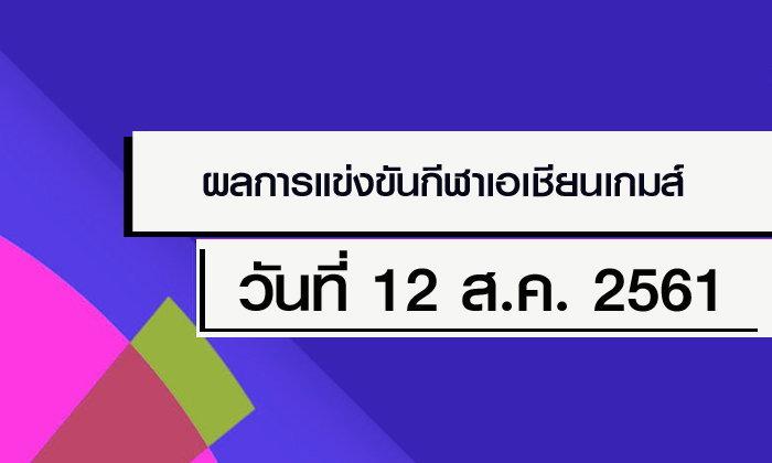 สรุปผลการแข่งขัน กีฬาเอเชียนเกมส์ 2018 ประจำวันที่ 12 สิงหาคม 2561