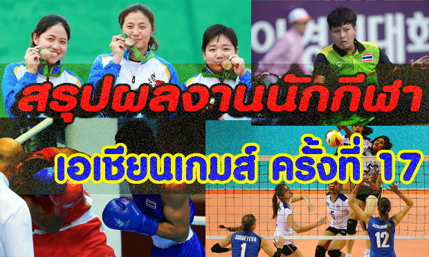 สรุปผลงานของนักกีฬาไทยในเอเชียนเกมส์