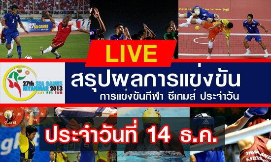 สรุปผลงานนักกีฬาไทยในการแข่งขันซีเกมส์ 14-12-13