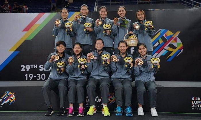 """3 สมัยติด! """"ขนไก่ทีมหญิงไทย"""" อัดเจ้าภาพ 3-1 คู่ซิวทองซีเกมส์"""