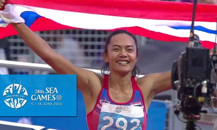 """ย้อนชมคลิปสุดฟิน! วินาทีแห่งชัยชนะวิ่งข้ามรั้ว 100 ม.ของ """"ปุ้ย-วัลลภา"""""""