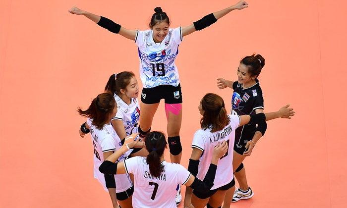"""ฟอร์มเฉียบ! """"สาวไทย"""" อัด """"ไต้หวัน"""" 3-0 ซิวแชมป์กลุ่มศึกลูกยางเอเชีย"""