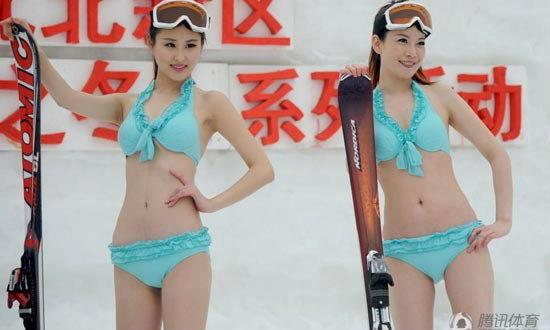 จีนจัดบิกินี่กลางหิมะรับโอลิมปิกฤดูหนาว 2014