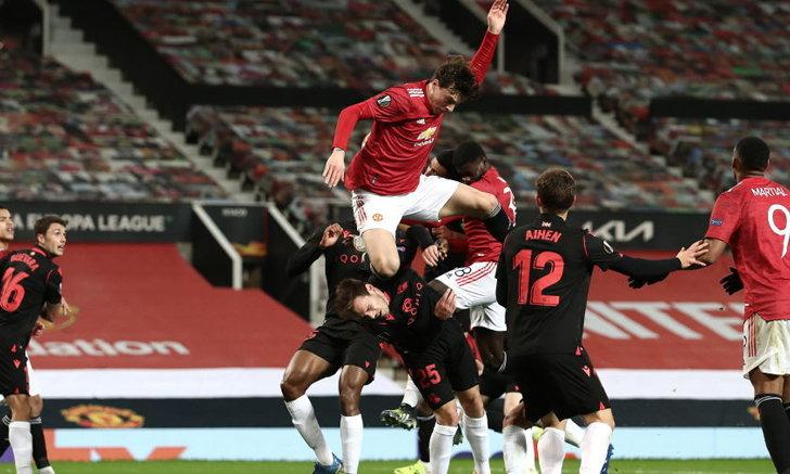"""""""ลินเดอเลิฟ"""" เข่าลอยมั่วซั่ว! VAR ริบประตูคืน แมนยู เจ๊า เรอัล โซเซียดาด 0-0 แต่ยังเข้ารอบ ยูโรปาลีก"""