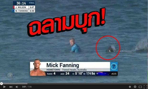 คลิปสุดระทึก! แชมป์โลกกระดานโต้คลื่น โดนฉลามบุก ขณะถ่ายทอดสดทั่วโลก