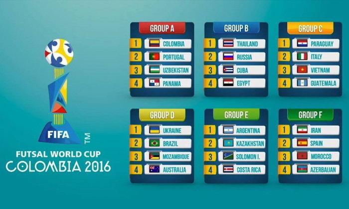 จับติ้วฟุตซอลโลก2016 แข้งไทยฟัดรัสเซีย,คิวบา,อียิปต์