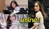 """นางฟ้าในหมู่ช้างศึก! """"น้องเพชร"""" จนท.การเงินสมาคมลูกหนังไทยขวัญใจหนุ่มๆ (ภาพ)"""
