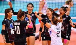"""สุดมันส์! """"ตบสาวไทย"""" โค่น """"สาวจีน"""" 3-2 ศึกชิงแชมป์เอเชีย"""