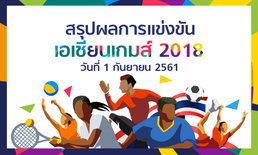 สรุปผลการแข่งขัน กีฬาเอเชียนเกมส์ 2018 ประจำวันที่ 1 กันยายน 2561
