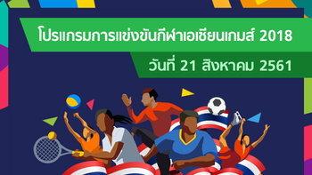 โปรแกรมการแข่งขัน กีฬาเอเชียนเกมส์ 2018 ประจำวันที่ 21 สิงหาคม 2561