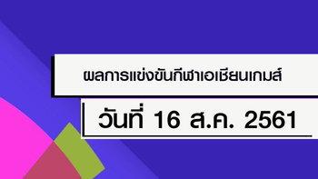 สรุปผลการแข่งขัน กีฬาเอเชียนเกมส์ 2018 ประจำวันที่ 16 สิงหาคม 2561