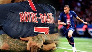 """PSG ใส่เสื้อรำลึก เหตุไฟไหม้ """"อาสนวิหาร น็อทร์-ดาม"""" เกมฉลองแชมป์ ถล่ม โมนาโก 3-1"""
