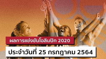 สรุปผลการแข่งขันกีฬาโอลิมปิก 2020 ประจำวันที่ 25 กรกฎาคม 2564