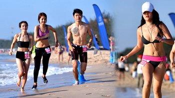 """ดูกันเพลินตา! นักวิ่งกว่าพันคน ร่วมวิ่ง """"สิงห์บิกินี่รัน 2017"""" ริมหาดชะอำ"""