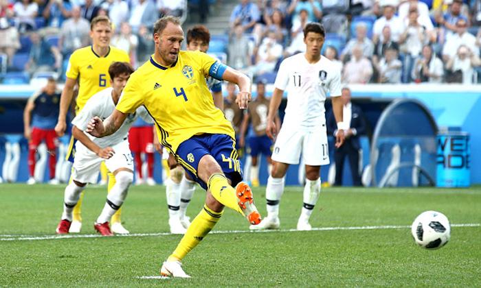 Image result for สวีเดนซัดจุดโทษเฉือนเกาหลีใต้ 1-0