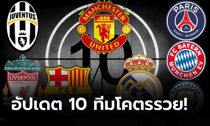 อังกฤษมา 6 ทีม! เผย 10 อันดับสโมสรมูลค่าสูงสุดในยุโรป ณ ปัจจุบัน