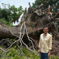 พายุหมุนถล่มบ้านพังยับ ต้นไม้ใหญ่ล้มทับกุฏิพระกระโดดหนีตายจ้าละหวั่น