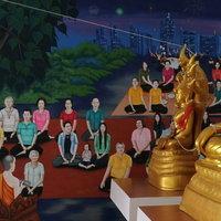 ขอพรพระพุทธรูปปางไสยาสน์ ชมภาพจิตกรรมฝาผนังร่วมสมัยยุคใหม่