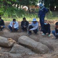 ฮือฮา ขุดพบเสาเสมาโบราณเก่าแก่อายุกว่า1 พันปี โผล่กลางสวน